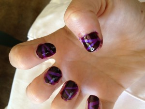 Purple tape manicure. Photo taken by Shira Stein