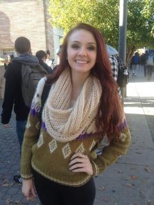 Mariya Chichmarenko wearing an infinity scarf.