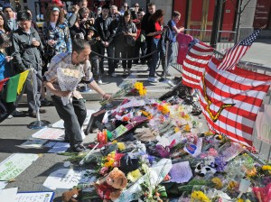 People remember those impacted by the Boston Marathon bombings. Patrick Whittemore/Boston Herald/MCT